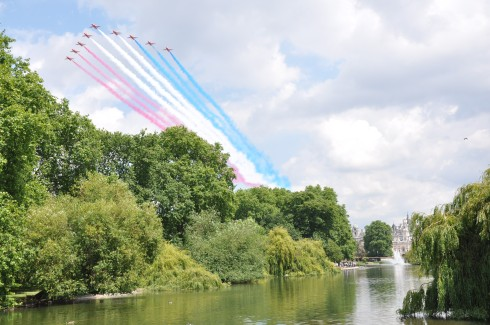 Red Arrows fly past